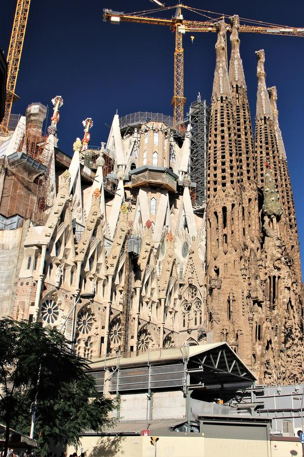 View of the construction site, which lasts over a hundred years. Barcelona, Spain, La Sagrada Familia. Beautiful Catholic Cathedral in the unusual style of the stock image