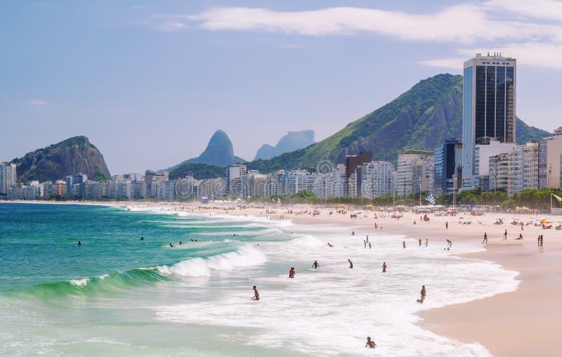 View of Copacabana beach in Rio de Janeiro royalty free stock photos