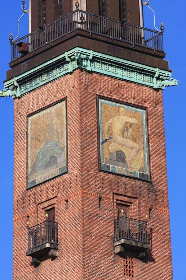 View of Copenhagen city hall tower, Denmark stock images