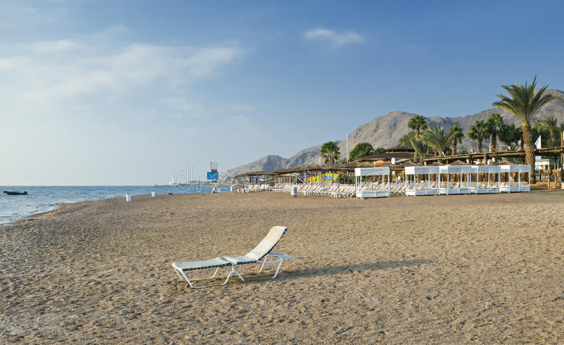 View on coral beach of Eilat, Israel. Eilat is a famous resort and recreation city of Israel stock photography