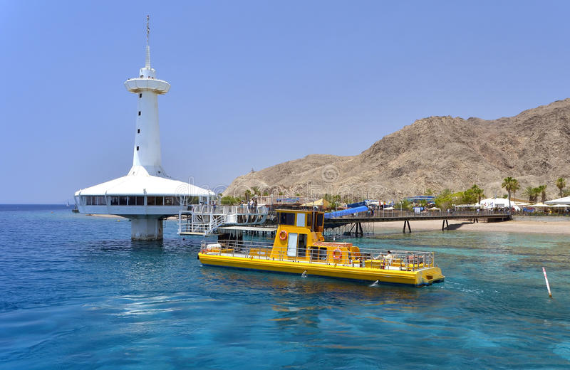 View on coral reef near Eilat, Israel. The shot was taken at southern beach of Eilat - famous resort and recreation town in Israel stock photo