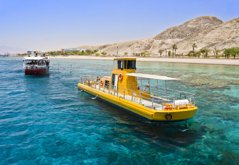 View on coral reef near Eilat, Israel. The shot was taken at southern beach of Eilat - famous resort and recreation town in Israel stock image