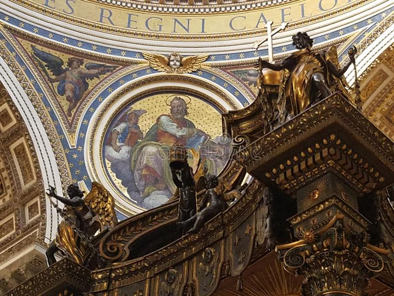 Portion of main altar of St. Peter`s stock photography