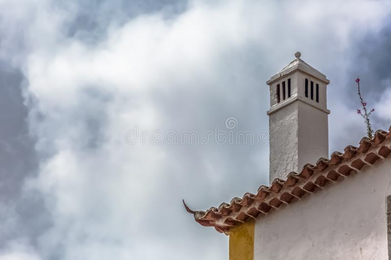 View of cornice and upper corner of building facade, traditional chimney royalty free stock photos