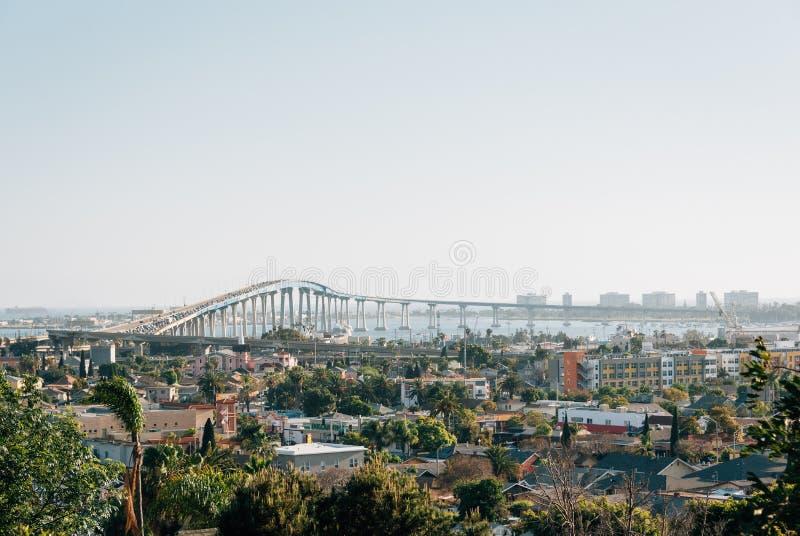 View of the Coronado Bridge from Grant Hill Neighborhood Park, in San Diego, California royalty free stock image