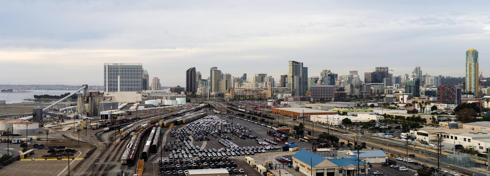 San Diego California Downtown City Skyline Including Port and Railroad Yard. A view from the Coronado Bridge looking north into San Diego California royalty free stock photography
