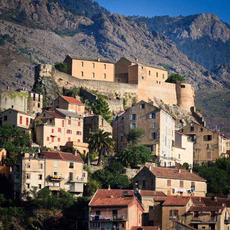 View of Corte, Corsica stock photo