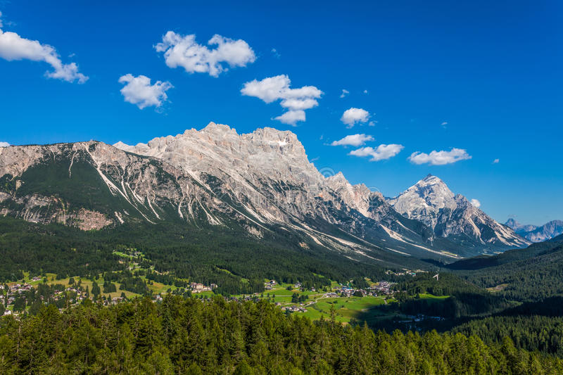 View of Cortina D'Ampezzo, Italy. Summer view of mountain peak Antelao above Cortina d'Ampezzo - Italy royalty free stock photos