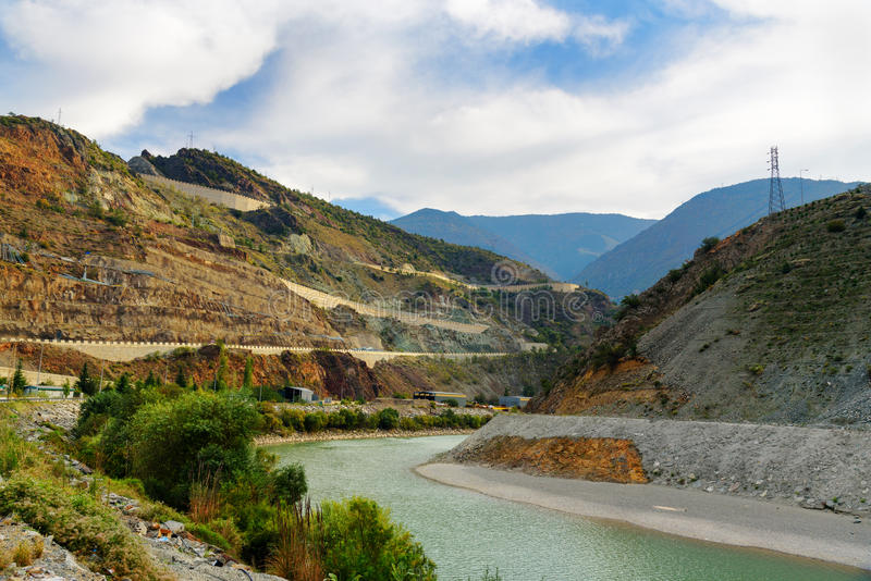 View on Coruh River. Artvin. Turkey. View on Coruh River and mountain with road to Ardahan from Artvin. Turkey stock photos