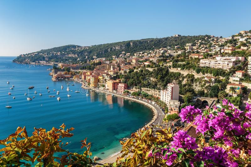 View of Cote d 'Azur near the town of Villefranche-sur-Mer. Panoramic view of Cote d 'Azur near the town of Villefranche-sur-Mer stock photography