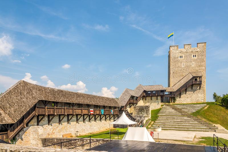 View at the Courtyaed with wooden corridor of Old Castle in Celje - Slovenia. View at the Courtyaed with wooden corridor of Old Castle in Celje, Slovenia stock photography