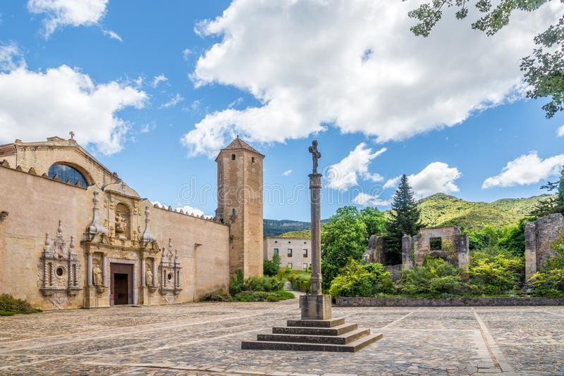View at the Courtyard of Abbey of Santa Maria de Poblet in Spain royalty free stock photography