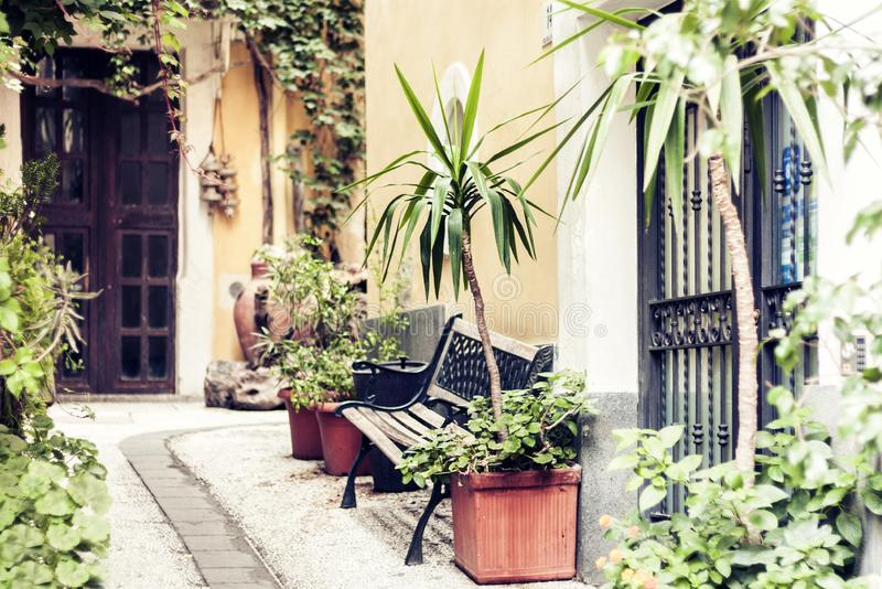 View of courtyard of the house of ancient building in Catania, Sicily, Italy, traditional architecture.  royalty free stock photos