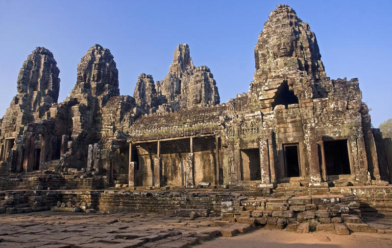 View of the courtyard in the temple of Bayon royalty free stock images
