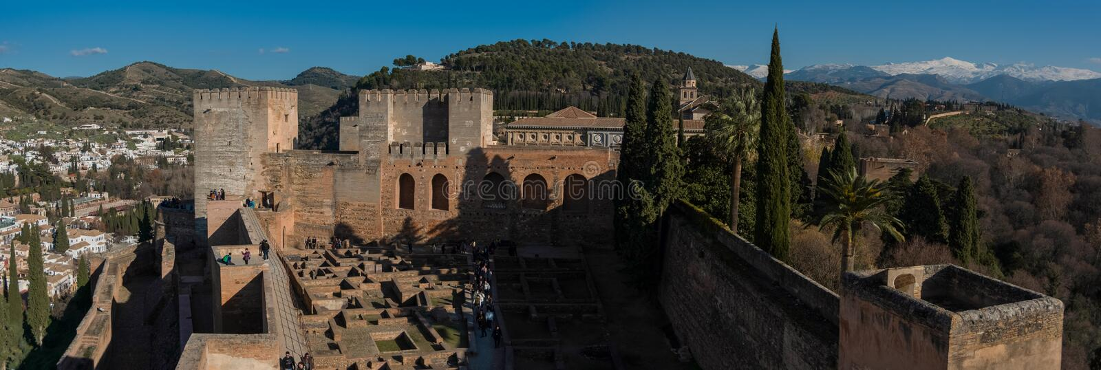 View of courtyard, walls and tower of Alcazaba, citadel of Alhambra, Nasrid Emirate fortress, European travel landmark in stock images