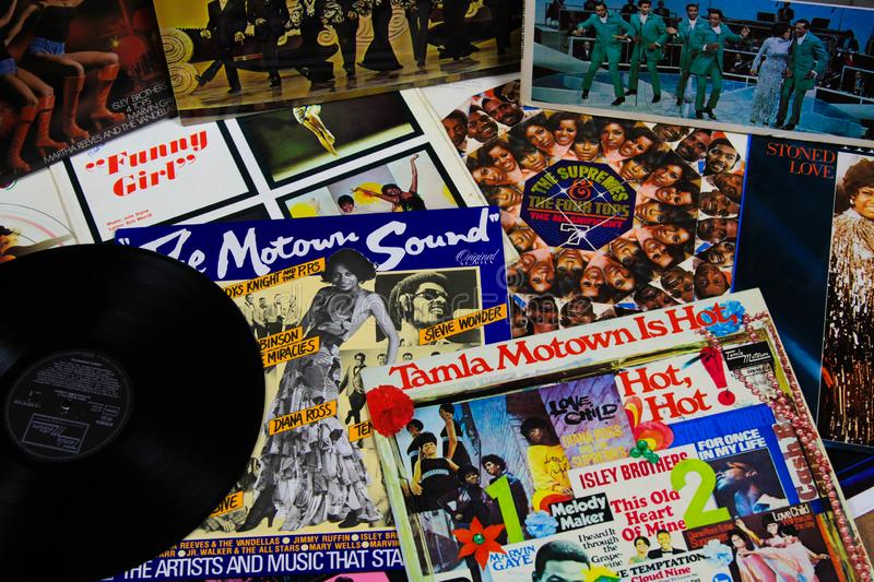 View on cover collection of vintage vinyl records of Tamla Motown royalty free stock photo