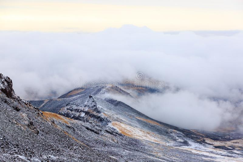 View from the crater of Mount Aragats, northern summit, at 4,090 m , Armenia royalty free stock photos