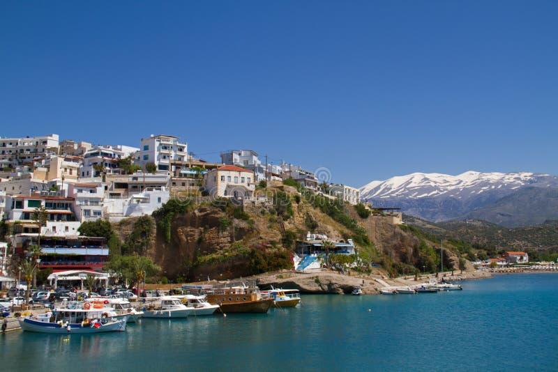 View on the Cretan village Agia Galini stock photography