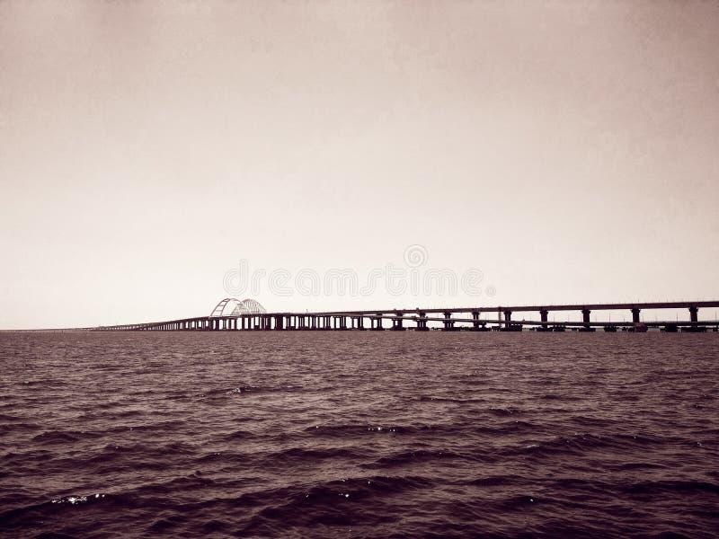 Crimea Bridge over the Black Sea. View of the Crimea Bridge over the Black Sea, architectural decision stock photo