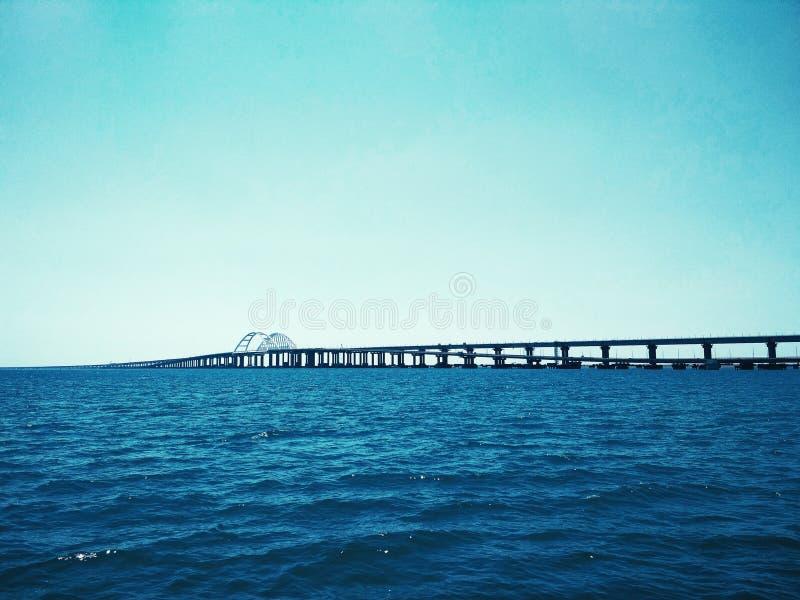 Crimea Bridge over the Black Sea. View of the Crimea Bridge over the Black Sea, architectural decision stock images
