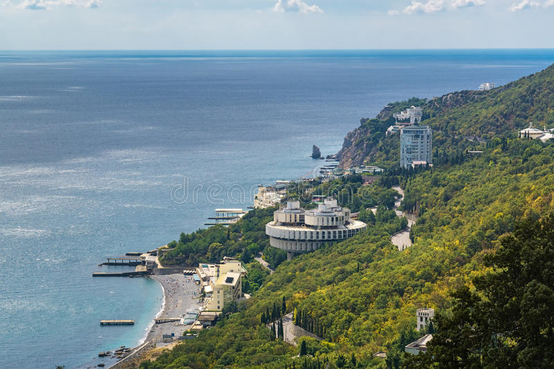 View of the Crimean Black Sea coast. Summer day stock images