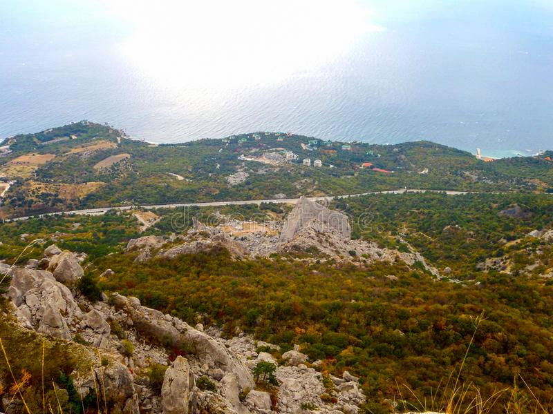 View of Crimean mountains and the Black sea coast at autumn in Crimea royalty free stock images