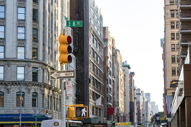 View of crowded city streets looking down Broadway from the intersection of 8th Street in Manhattan, New York City. NYC stock photos