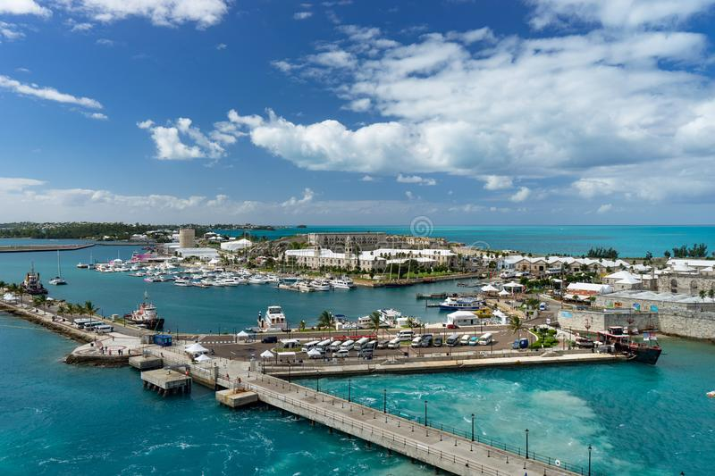 View of the cruise port in KINGS WHARF, BERMUDA.  stock photo