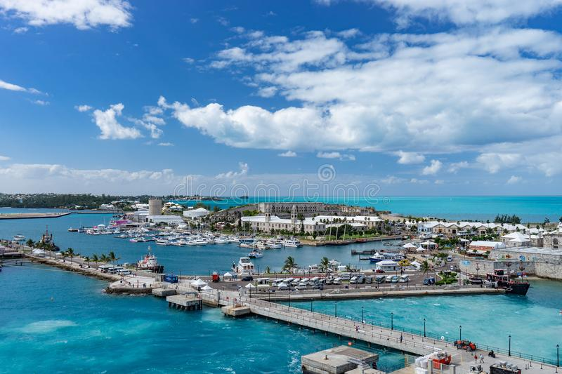 View of the cruise port in KINGS WHARF, BERMUDA.  stock photography