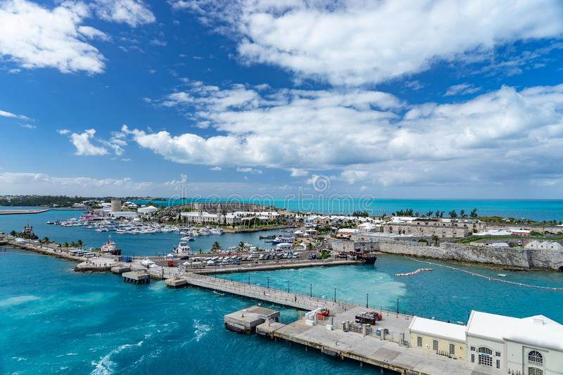 View of the cruise port in KINGS WHARF, BERMUDA.  royalty free stock photography