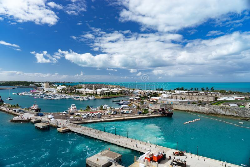 View of the cruise port in KINGS WHARF, BERMUDA.  stock images
