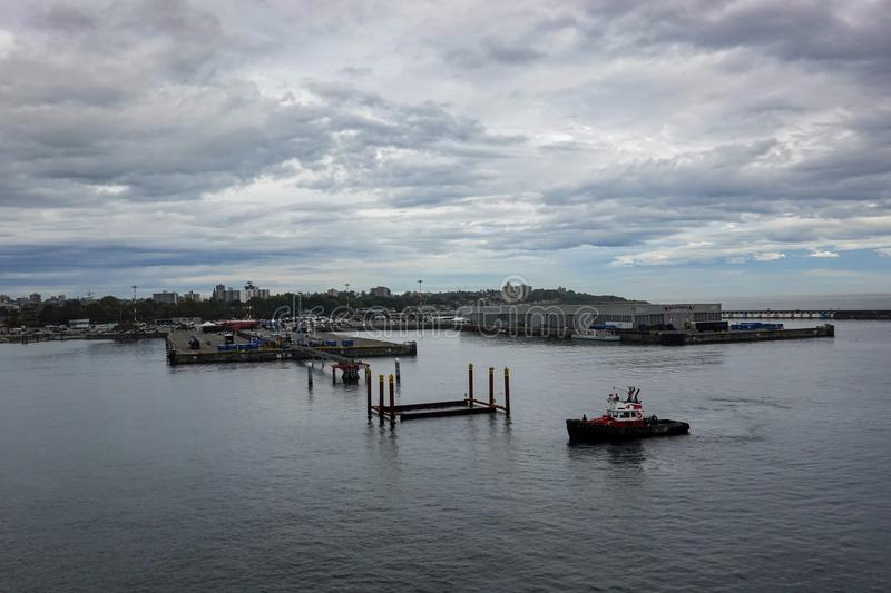 The view from a cruise ship cruise ship coming into dock at the Victoria Canada port. Victoria/Canada-9/14/19: The view from a cruise ship cruise ship coming stock photography