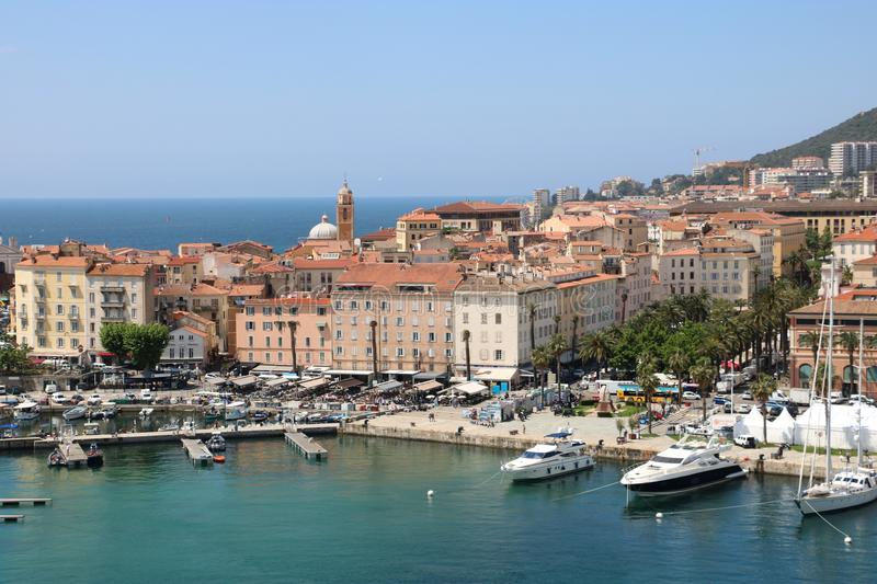 Ajaccio, France. View from a cruise ship on the historic center of Ajaccio, the capital of Corsica, a French island in the Mediterranean Sea. Ajaccio is a major royalty free stock image
