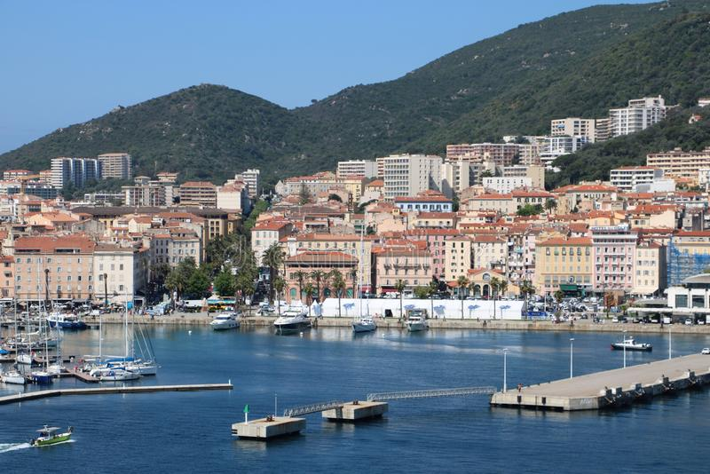 Ajaccio, France. View from a cruise ship on marina and the historic center of Ajaccio, the capital of Corsica, a French island in the Mediterranean Sea. Ajaccio royalty free stock image