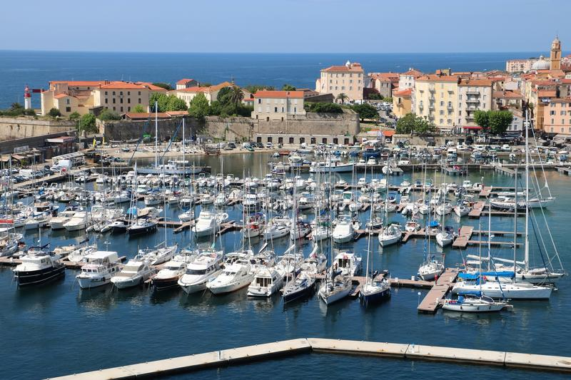 Ajaccio, France. View from a cruise ship on marina and the historic center of Ajaccio, the capital of Corsica, a French island in the Mediterranean Sea. Ajaccio royalty free stock photos