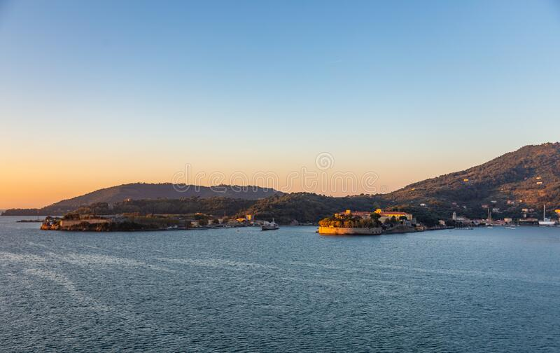 View from a cruise ship at sunrise in the harbor of La Spezia, Italy royalty free stock photo