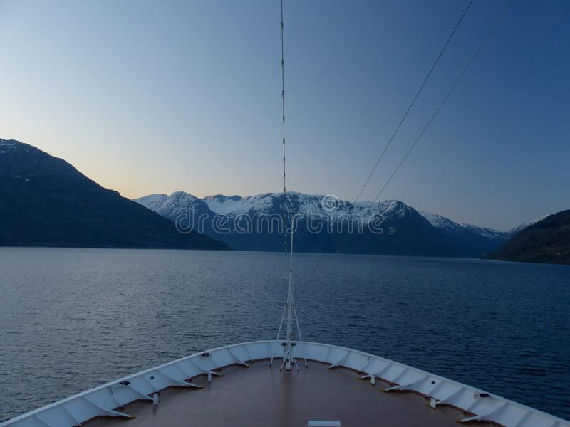 View from a cruiseship sailing through Norwegian fjord royalty free stock photography