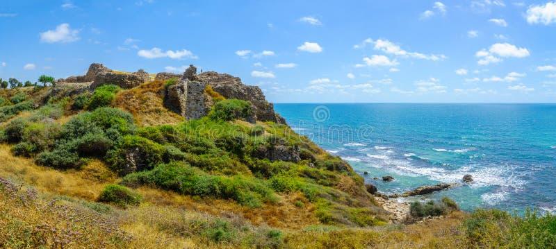 Crusader fortress, in Apollonia royalty free stock photos