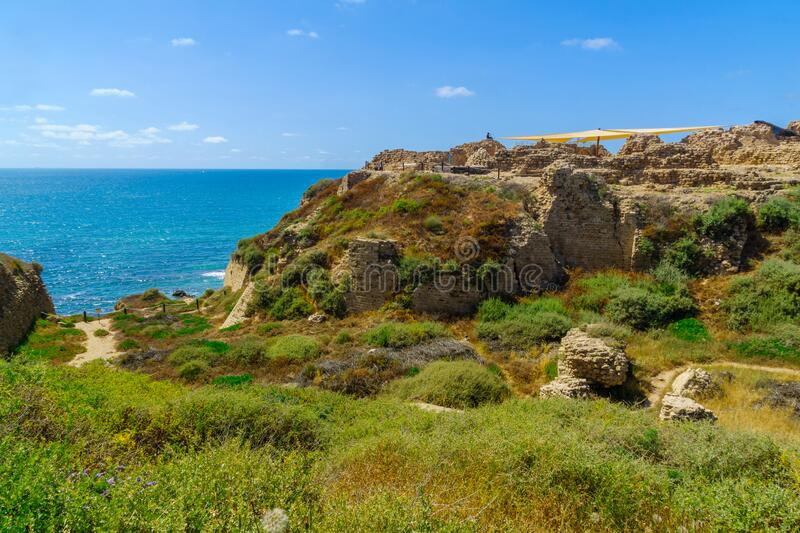 Crusader fortress, in Apollonia royalty free stock images