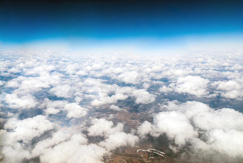 View of cumulus clouds from above. View of a cumulus clouds from above royalty free stock image