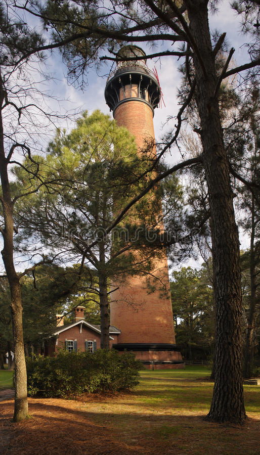 A View Of Currituck Beach Lighthouse Through The Trees Royalty Free Stock Images