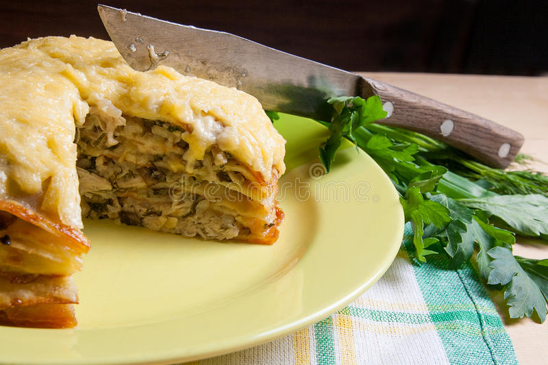 Download View Of Cutted Pancakes Pie With Mushrooms And Chicken Meat. Tra Stock Image - & View Of Cutted Pancakes Pie With Mushrooms And Chicken Meat. Tra ...