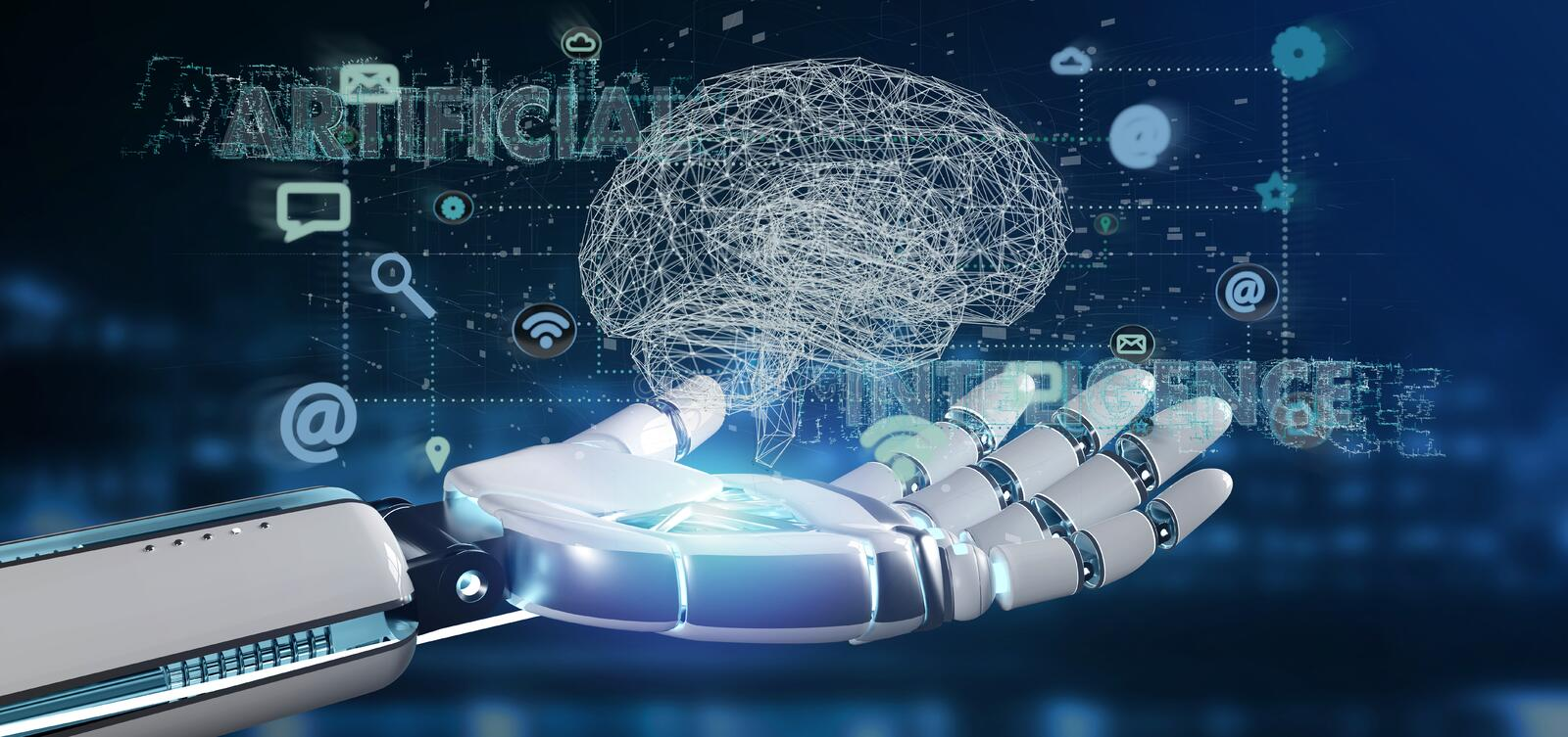 Cyborg hand holding a artificial intelligence concpt with a brain and app 3d rendering stock image