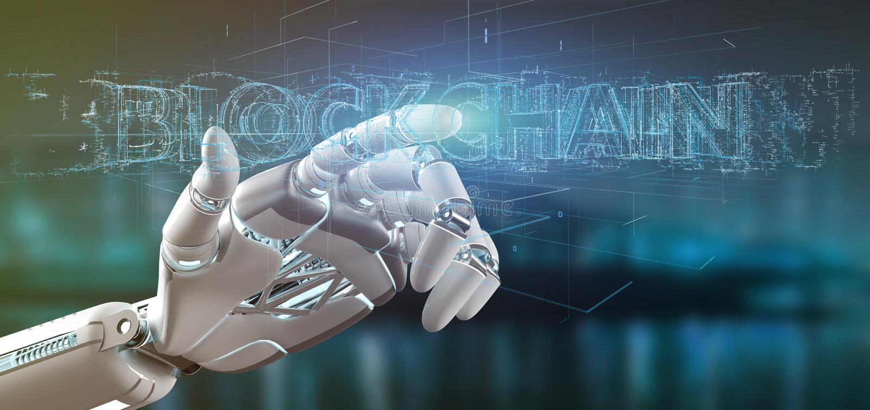 Cyborg hand holding a Blockchain title 3d rendering. View of a Cyborg hand holding a Blockchain title 3d rendering vector illustration