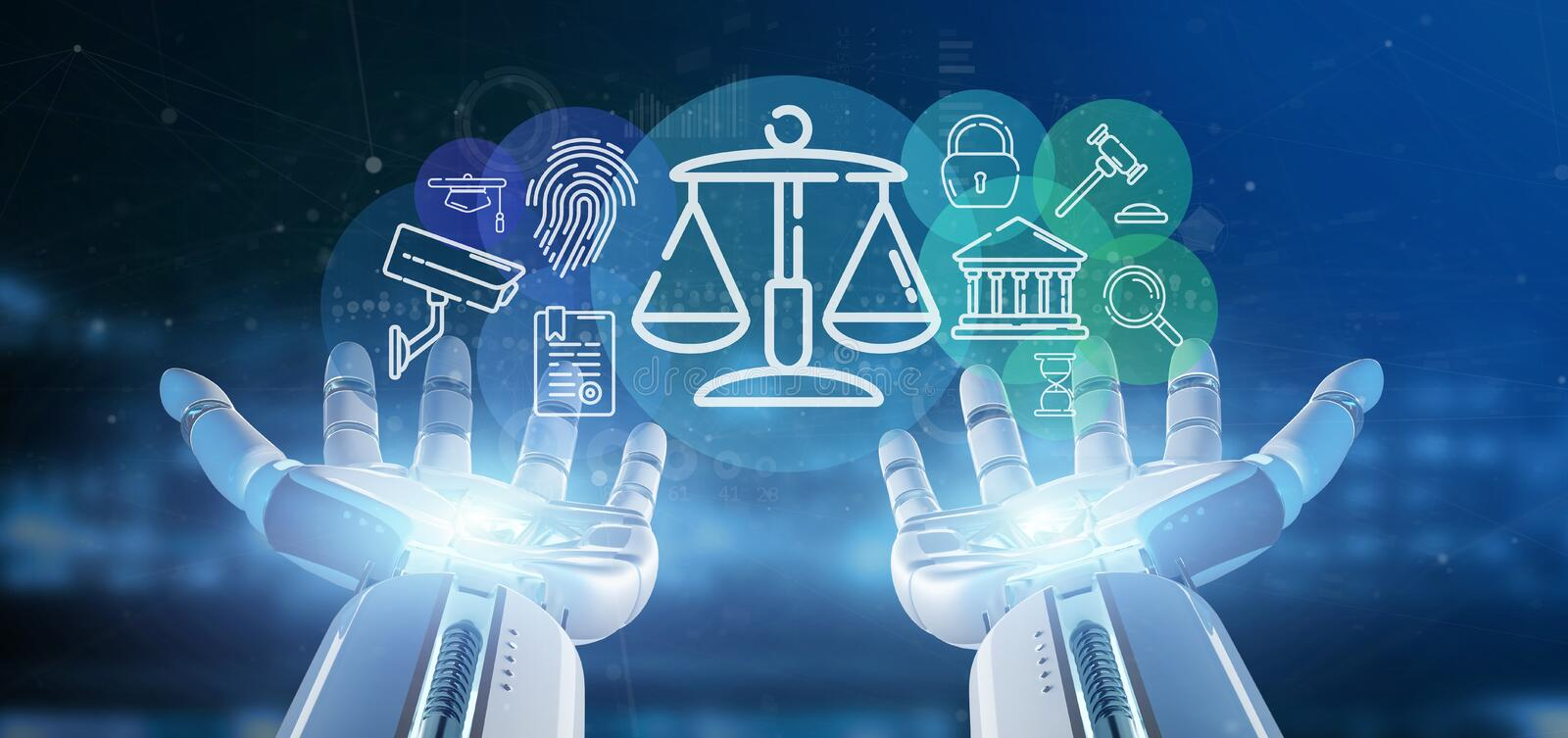 Cyborg hand holding Cloud of justice and law icon bubble with da stock illustration