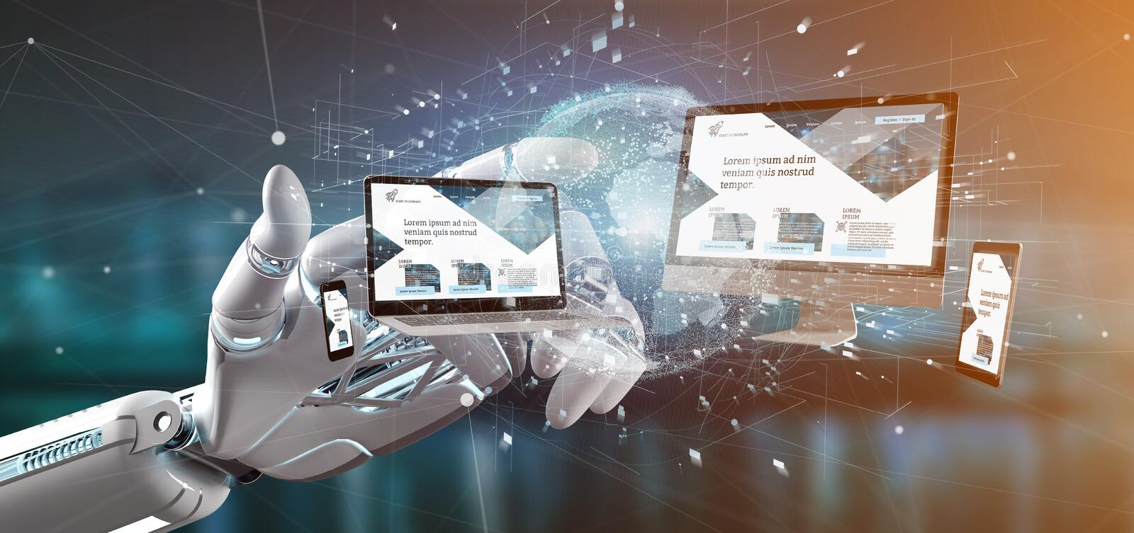 Cyborg hand holding a Devices connected to a global business network 3d rendering. View of a Cyborg hand holding a Devices connected to a global business network royalty free illustration