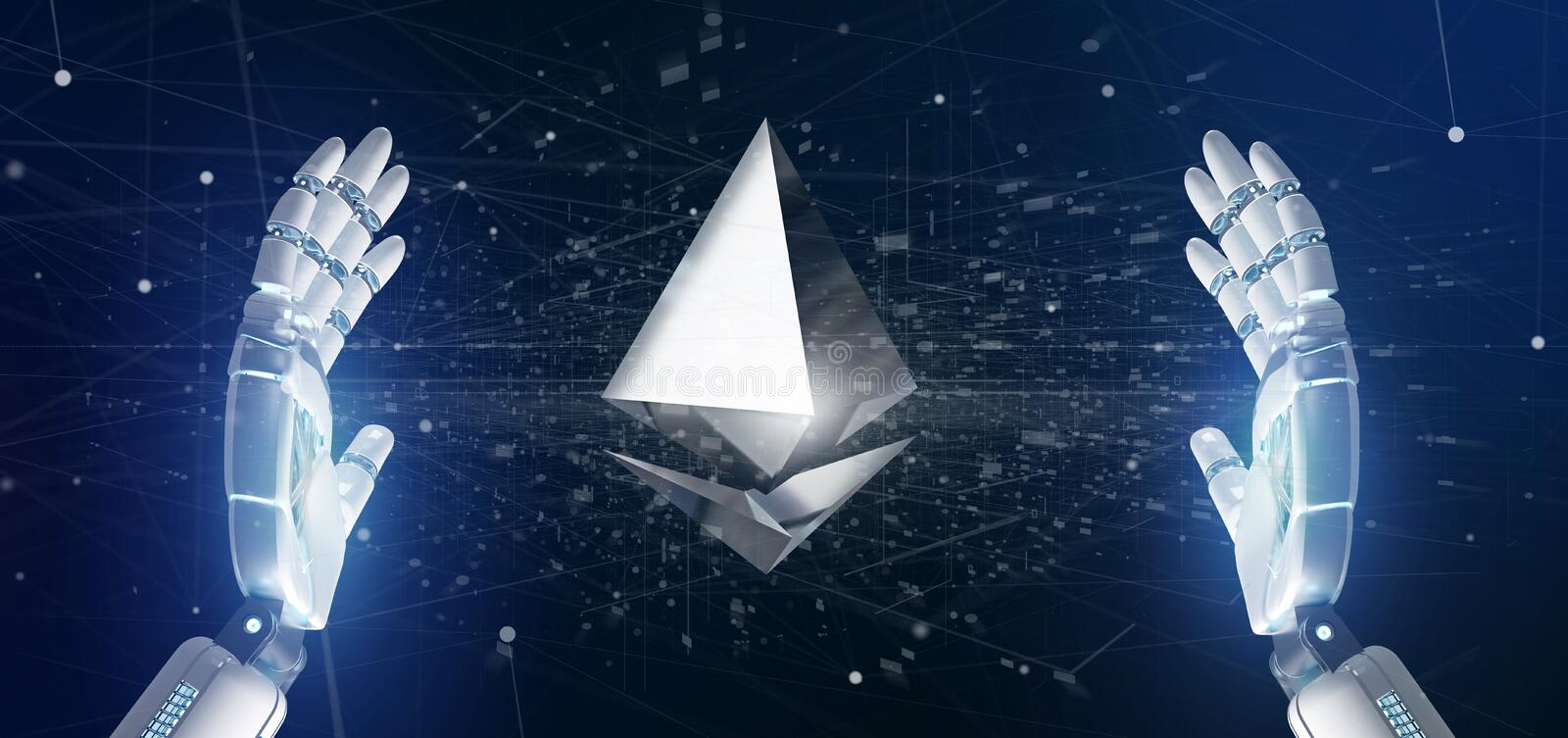 Cyborg hand holding a Ethereum crypto currency sign flying around a network connection - 3d rendering. View of a Cyborg hand holding a Ethereum crypto currency stock illustration