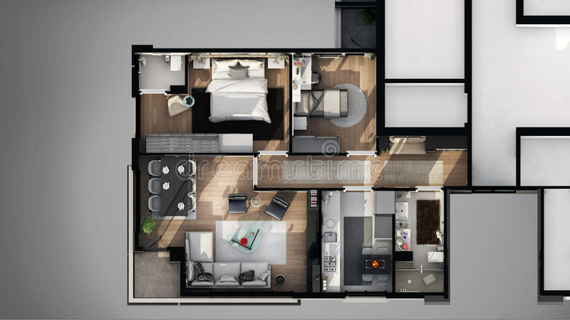 View of 3D designed apartment stock illustration