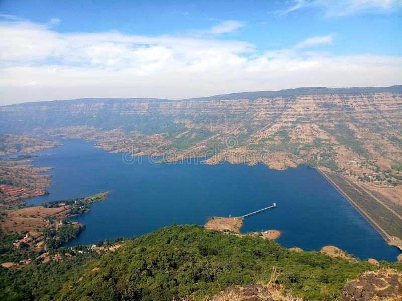 View of dam from  needle and eco point  of  mahabaleshwar india. Dam  which  is  present  on  krushna  and sarswati  river and view from  hill  station  named stock image