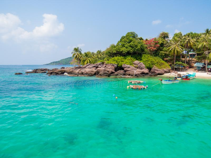 Dam Ngang Island, in the An Thoi Archipelago, Phu Quoc, Vietnam. View of Dam Ngang Island, locally known as May Rut Island, in the An Thoi Archipelago, Phu Quoc stock photos